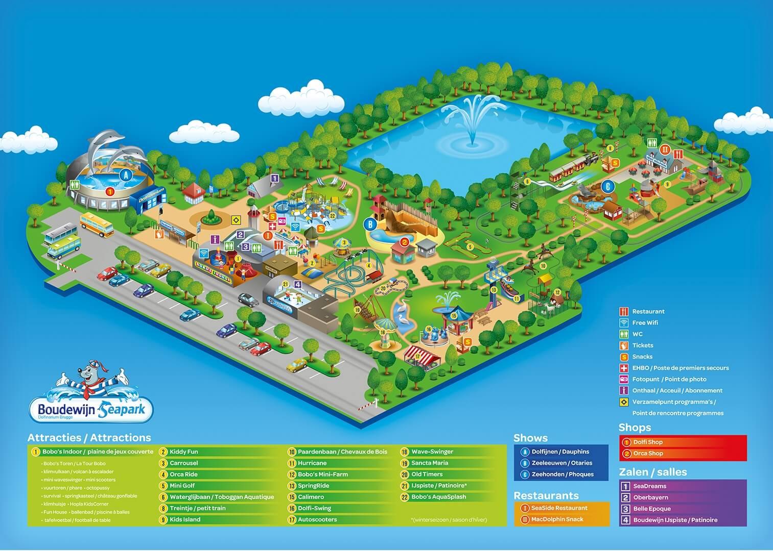 Ontdek Boudewijn Seapark via de plattegrond.